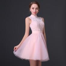 Rosa spitzen stehkragen kleid hinten offen kurze Jugendliche kleid 8. benotet graduierung kleid(China (Mainland))