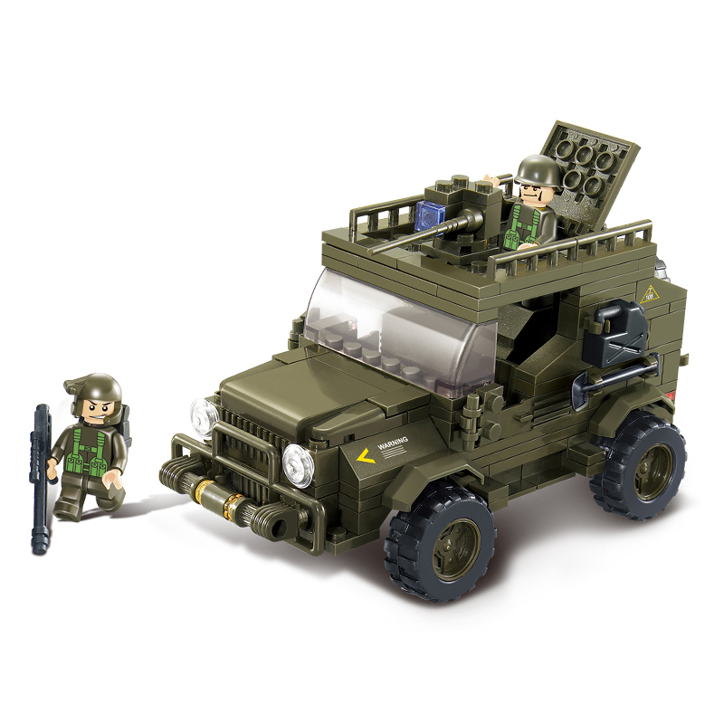 Model building kits compatible with lego city military Army jeep 3D blocks Educational model building toys hobbies for children(China (Mainland))