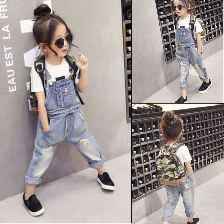 2016 Hot spring spring and autumn baby girl fashion Children's overalls Children's Cowboy suspender trousers(China (Mainland))
