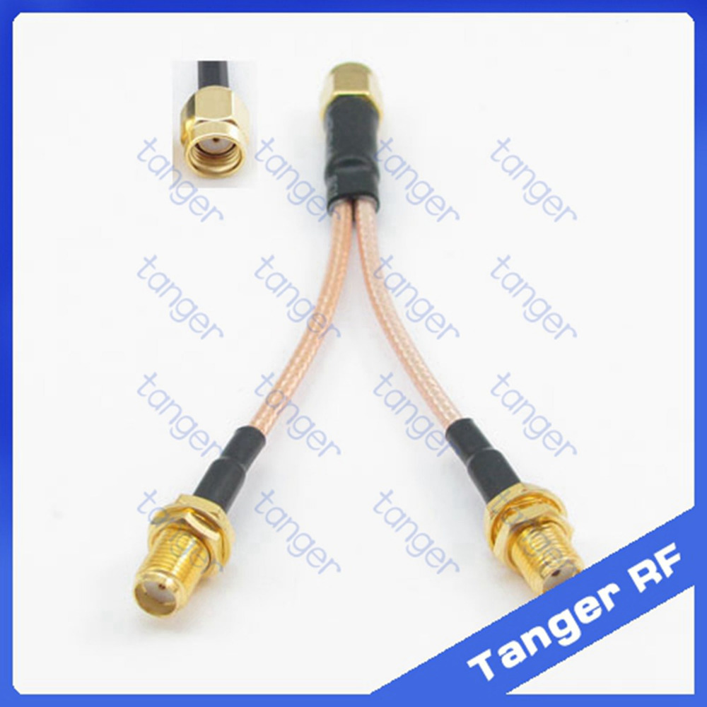 2015 Y type RF cable 1 RP-SMA male plug to 2 SMA female jack connector with 8inch 20cm RG316 RG-316 Coaxial Pigtail Jumper cable<br><br>Aliexpress