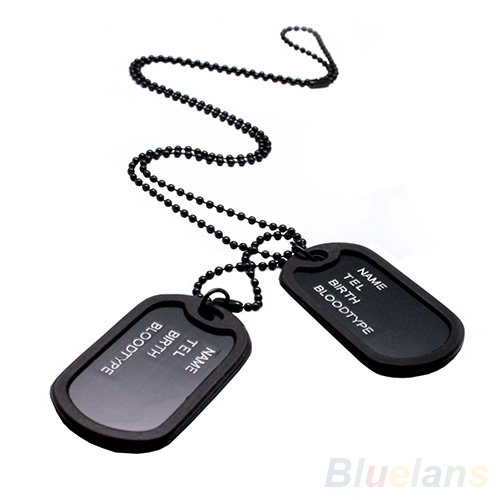 Military Army Style Black 2 Dog Tags Chain Mens Pendant Necklace Jewelry items 04R8(China (Mainland))