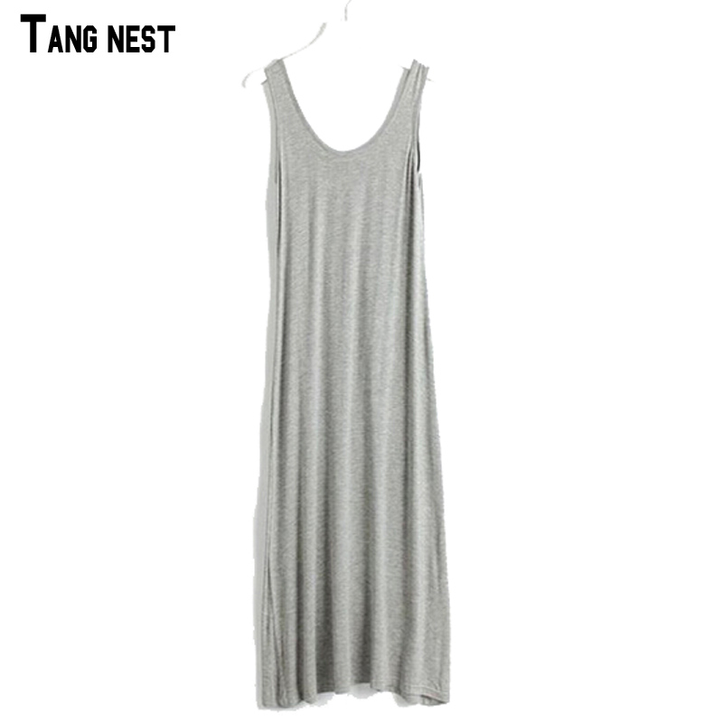 2016 New Women's Dress Floor-length Casual Summer Camisole Dress Modal Loose Big Size 16 Colors WQW138(China (Mainland))