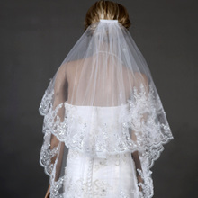 Fashionable Bridal Veil 2016 Two Layers White Tulle with Comb Paillette Wedding Accessories Brand New Wedding Veils(China (Mainland))