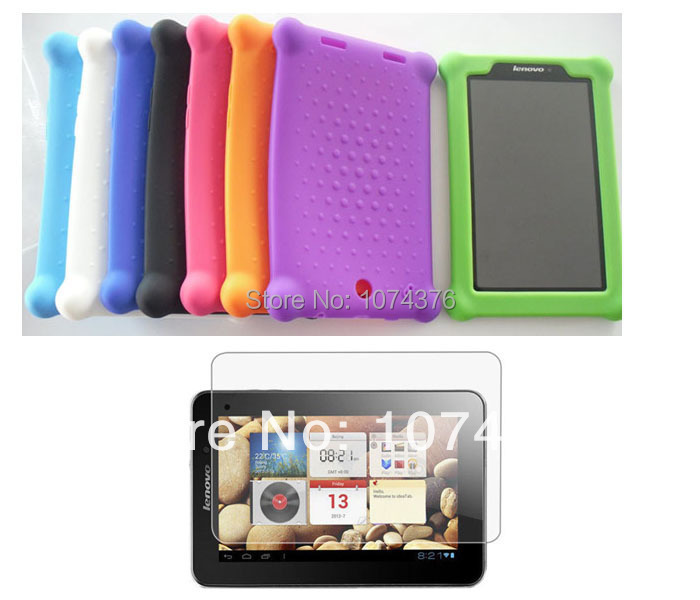 """Rubber Back Cover Silicone Gel Skin Case + Matte Screen Films For Lenovo IdeaTab A2107 A2107A A2207 7"""" Tablet PC Free Shipping(China (Mainland))"""