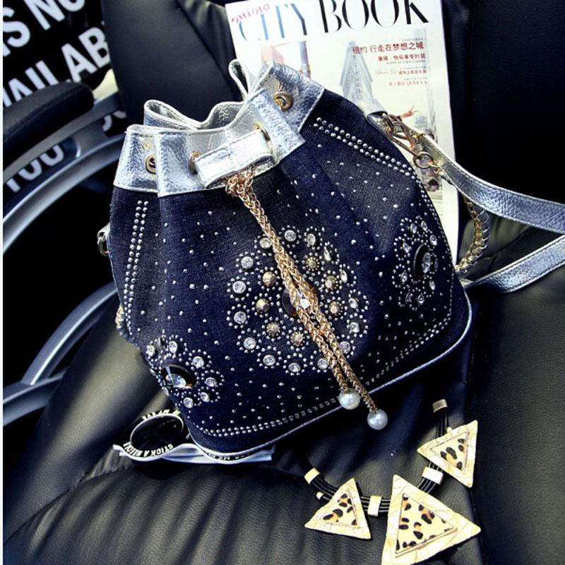 2016 Vintage Denim Canvas Diamond Weave Women Bag Women Messenger Bags Shoulder Cross Chain Bucket Bag wholesale(China (Mainland))