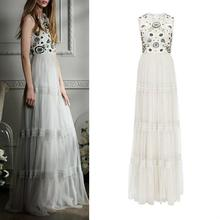 Luxury Design New 2016 Summer Long Dress Women Sequined Floral Embroidery Floor-Length Elegant White Long Dress Special Event