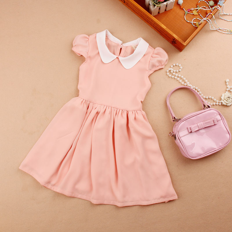 girls dresses summer 2016 children clothing kids cute peter pan collar princess dress clothes age 1-16Y - A M store
