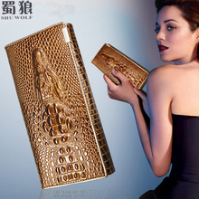 Buy SHU WOLF Women Wallet Hasp Coin Purses Holders Brand Genuine Leather 3D Embossing Alligator Ladies Crocodile Long Clutch Wallets for $8.70 in AliExpress store