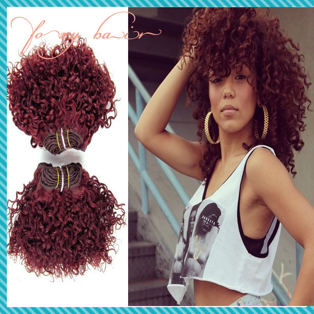 Fashion Red Hair Extensions Mongolian Kinky Curly Virgin