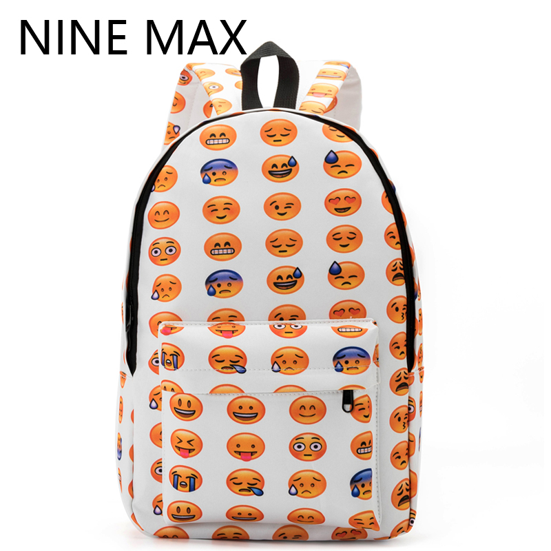 New 2016 Kids Cute Emoji Printing School Bags Children Canvas Backpacks For Teenager Girls Casual Women Laptop Mochila Feminina(China (Mainland))