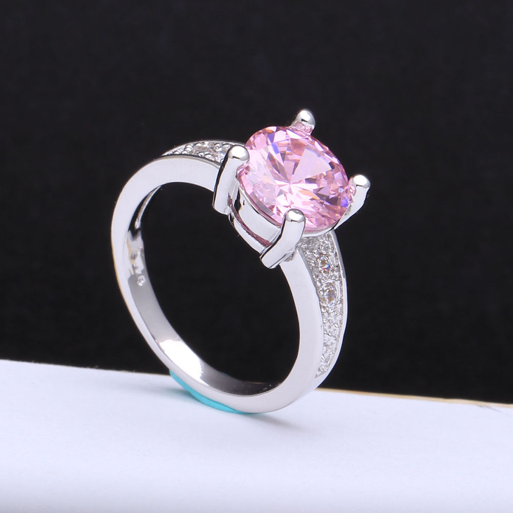 Wholesale Retail Shining Pink Cz diamond For Women jewelry hot stock us Size 7 8 9 Claw Inlay Prong Setting Pink Wedding Rings(China (Mainland))
