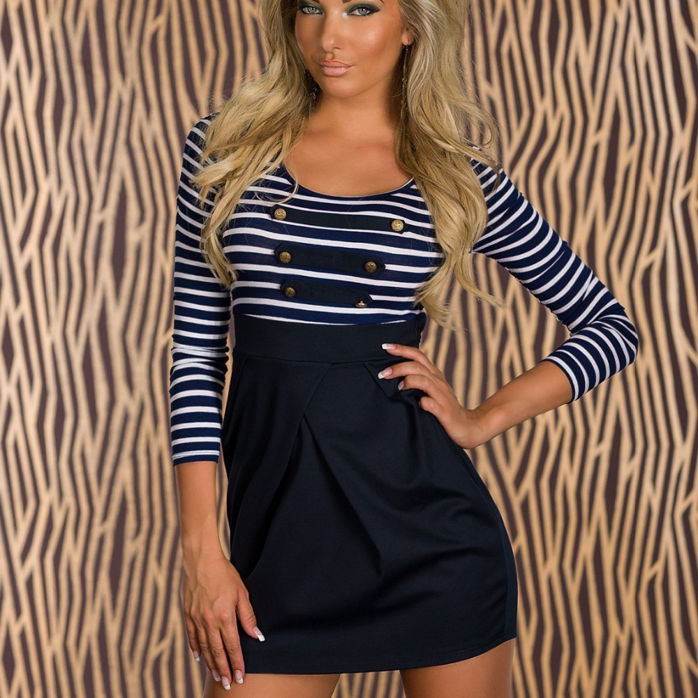 Women Girl Classic Long-sleeved Sailor Striped clothing Bodycon summer Sport Dress Girl Fashion Party Mini Casual Dresses 9046(China (Mainland))