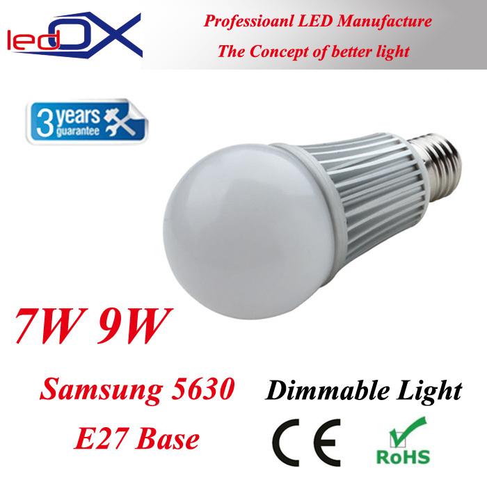 LEDOX E27 7W 9W samsung 5630 SMD bulb LED light Aluminum body dimmable lamp 110v 220v 230v bulbs lights FreeShipping(China (Mainland))