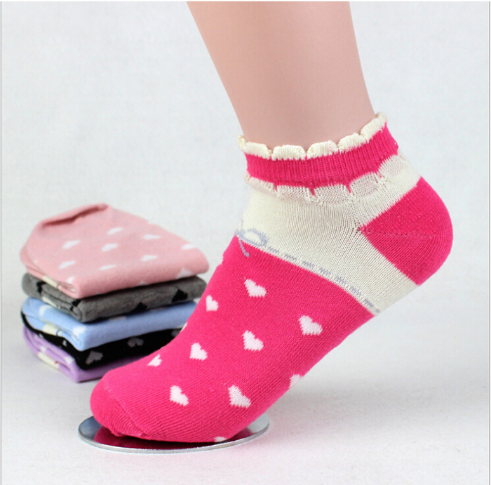 New Stylish Fashion Womens Cotton Ankle Socks Butterfly Voile Lace Low Cut Ankle Sock Heart Print Footwear 6 Colors One Size(China (Mainland))
