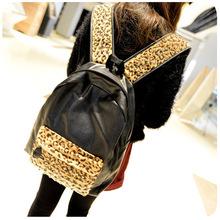 Bolsas Mochilas Femininas Promotion 2015 New Korean All-match Leisure Double Personality Leopard Rivet Bag Backpack Wholesale(China (Mainland))