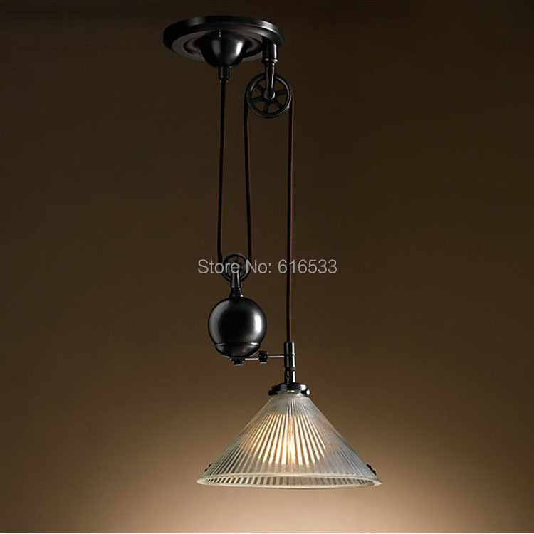 pulley lifting industrial edison pendant lamp adjustable wire fixture. Black Bedroom Furniture Sets. Home Design Ideas