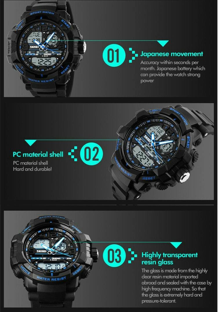 Skmei цифровые часы высокое качество dual time часы мужчины синий аналоговые спортивные наручные часы