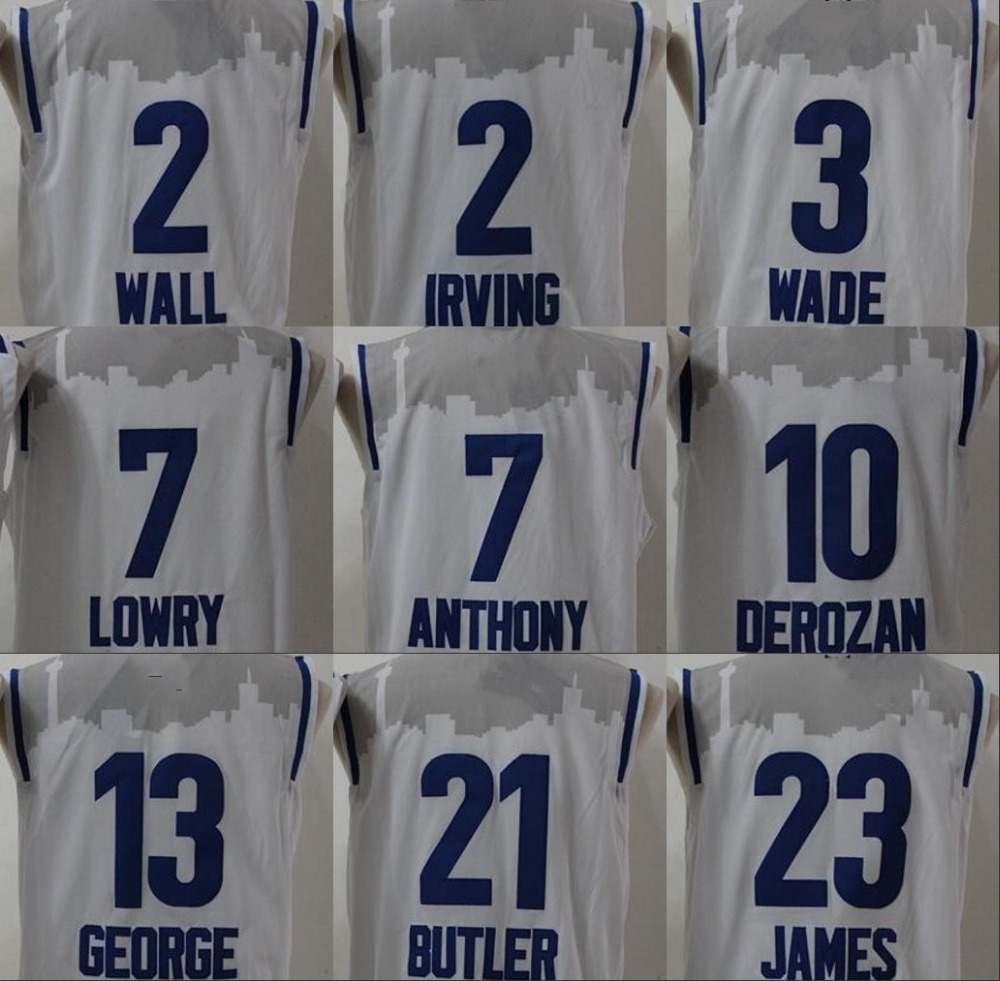 2016 White East All Star Jerseys Dwyane Wade,LeBron James,Jimmy Butler,Carmelo Anthony,Kyrie Irving,John Wall basketball Jersey(China (Mainland))