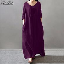 Buy Women Elegant Dress 2017 Autumn ZANZEA V Neck Long Sleeve Floor-length Casual Loose Solid Retro Maxi Long Vestidos Plus Size for $13.53 in AliExpress store