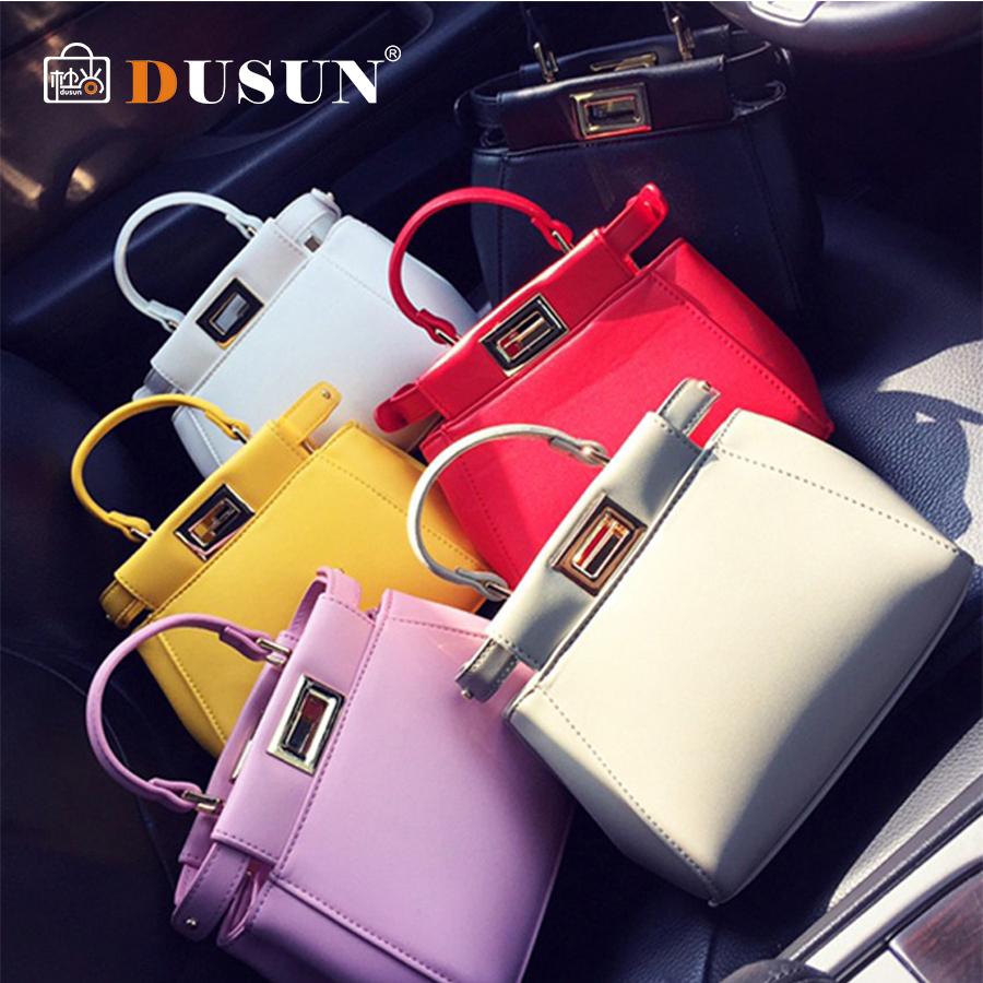 New fashion high-end candy color Peekaboo Mini bag women messenger bag crossbody bag female tote with lock bolsasQ1(China (Mainland))