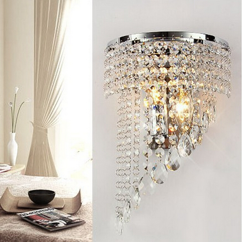 European style Modern Crystal Chandelier Wall Light Lighting Fixture 220V E14 LED Ceiling Lights ...