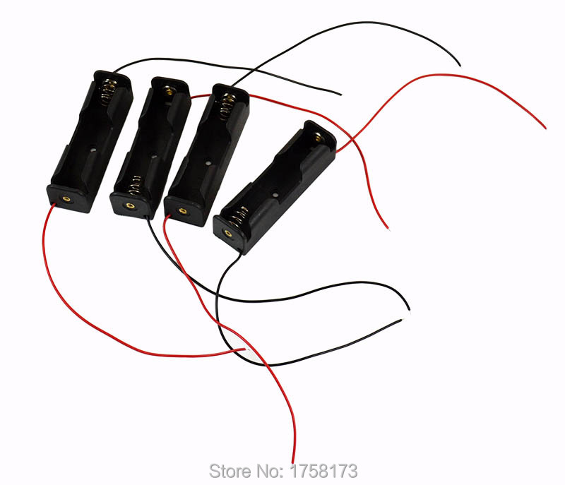 image for 5Pcs/Lot 18650 Battery 3.7V Clip Holder Box Case Black With Wire Lead
