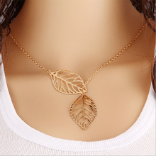 Vintage Double Leaves Pendant Necklace Gold Silver Clavicle Chain Hollow Leaf Charm Statement Choker Women Jewelry Accessories(China (Mainland))