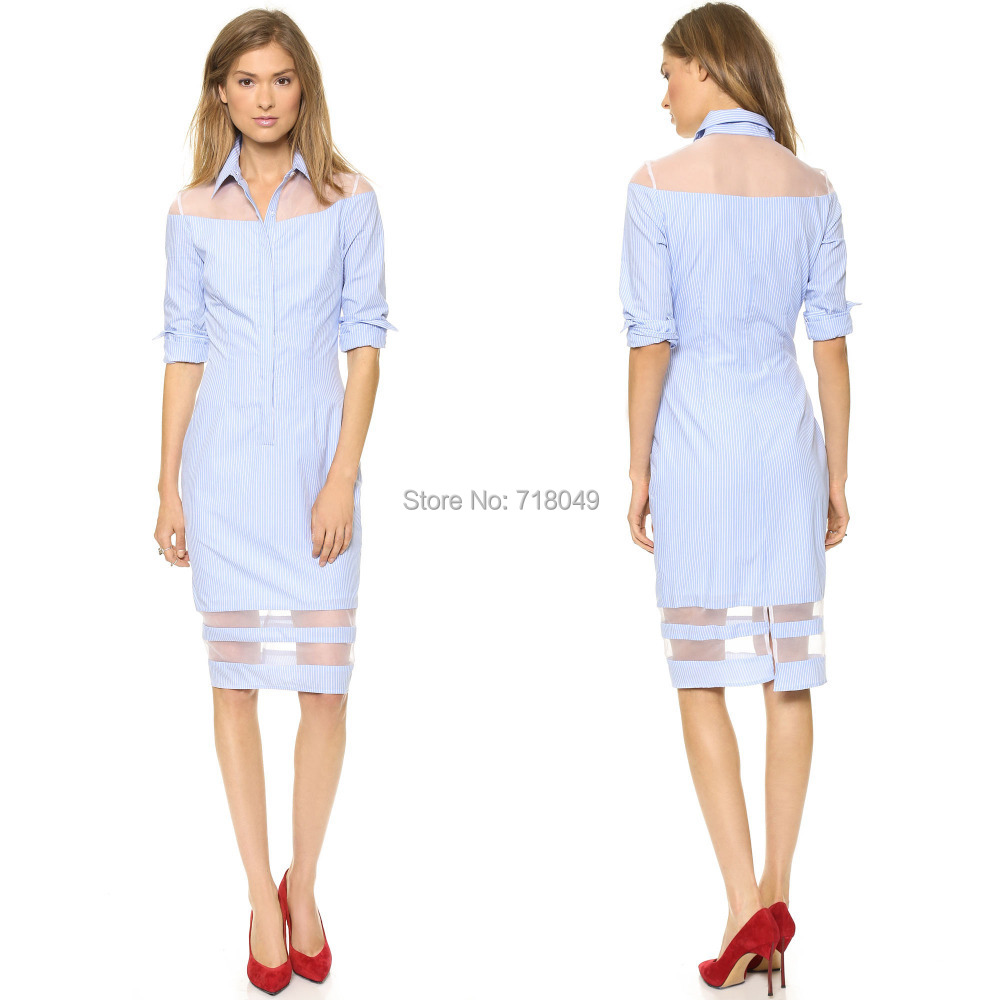 2014 Summer Blue White Striped Long Sleeve Turn-Down Collar Cotton Dress Women Sexy Perspective Mesh Patchwork Casual Dresses(China (Mainland))