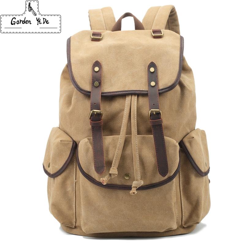 Vintage Korean style Men Military canvas Leather backpack men backpacks boy canvas school backpacks traveling bag PT0264(China (Mainland))