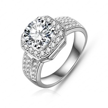 2015 New Trendy Ring Platinum Plated Square Shape Micro Pave AAA Cubic Zircon Brand Ring For Wedding Jewelry CRI0015-B(China (Mainland))