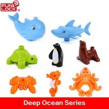 8pcs Funlock Duplo Action Figure Blocks Shark Whale Penguin Deep Ocean Animals Educational Kids Toys