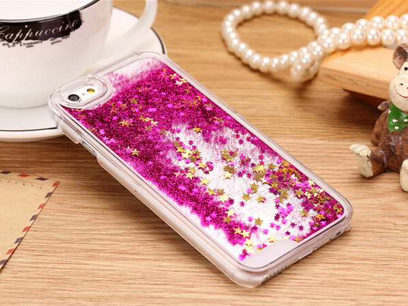 Promotions ! 7 Colors Fun Glitter Star Liquid Back Case cover for iphone 5 5S transparent clear case Cover Gifts(China (Mainland))
