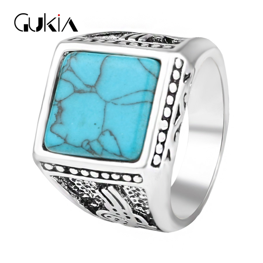 Classic Ottoman Vintage Ring For Women And Men Silver Plated Turquoise Mosaic Charm Punk Rings Turkey Jewelry Wholesale Sale(China (Mainland))