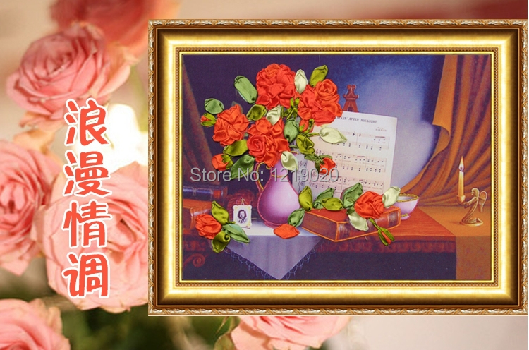 New arrivals 3D ribbon embroidery kit romantic emotional appeal decorative flowers interior decoration needlework painting(China (Mainland))