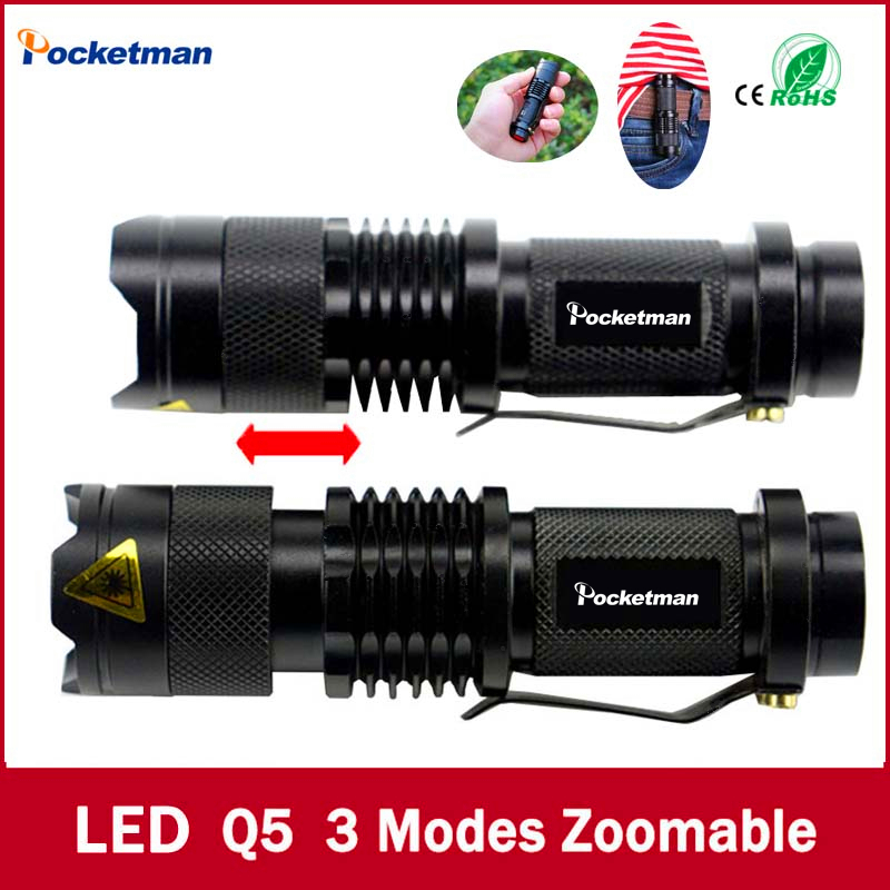high-quality Mini Black Brand 2000LM Waterproof LED Flashlight 3 Modes Zoomable LED Torch penlight free shipping(China (Mainland))