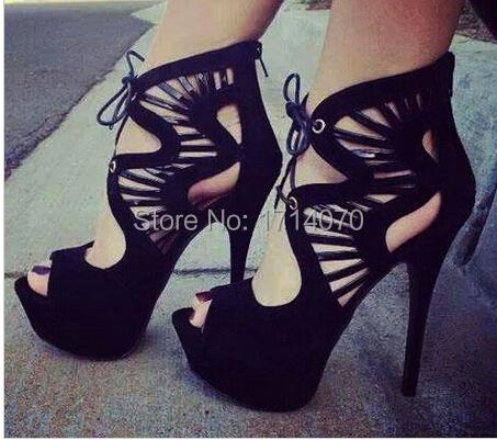 Фотография 2015 newest design Unique Black Suede leather sandals elegant fan-shaped Cut-outs design ankle Lace-Up  peep toe sandal boots