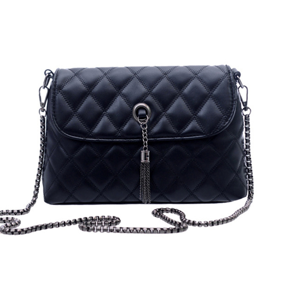 Hot Newest Women Tassel Shoulder Bag Quilted Flap PU Messenger Bag Fashion Chain Small Crossbody Bag Solid Totes Bags for Female(China (Mainland))
