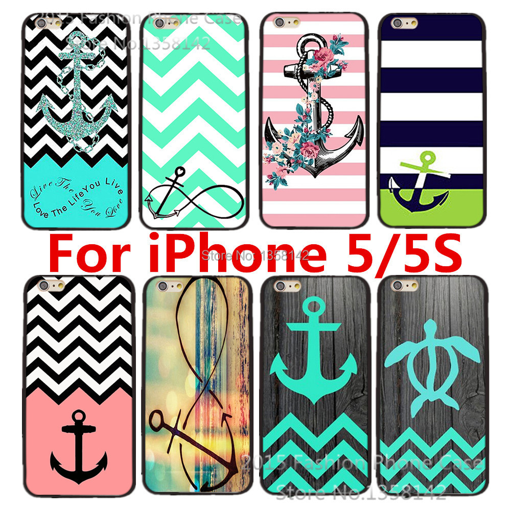 Cartoon Cute Stripe Anchor Print Hard Case Apple iPhone 5 5S 5G Cell Phone Protective Cover 1 piece - HongKong Five-A Group Co.,Ltd store
