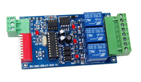 Wholesale 3CH LED dmx512 Controller board,3 channel DMX 512 RELAY OUTPUT ,LED DMX512 Decoder,Relay Switch Controller(China (Mainland))