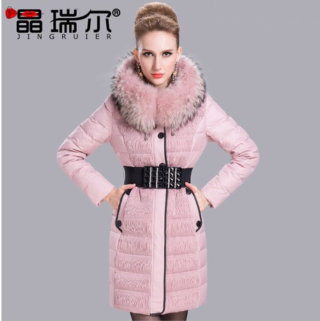2015 New Arival Women's Coat Thickening Large Fur Collar Slim Medium-long Female Outwear Winter Jacket S-xxl A11155 - GREEN SHINE STORE store