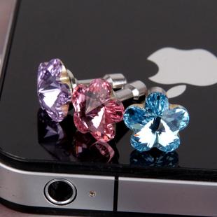 2014 Fashion design anti dustproof plugs  For i phone 5 4s flower rhinestone stone dust plug 3.5mm earphones