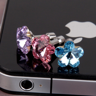 2014 Fashion design anti dustproof plugs  For i phone 5 4s flower rhinestone stone dust plug 3.5mm earphones