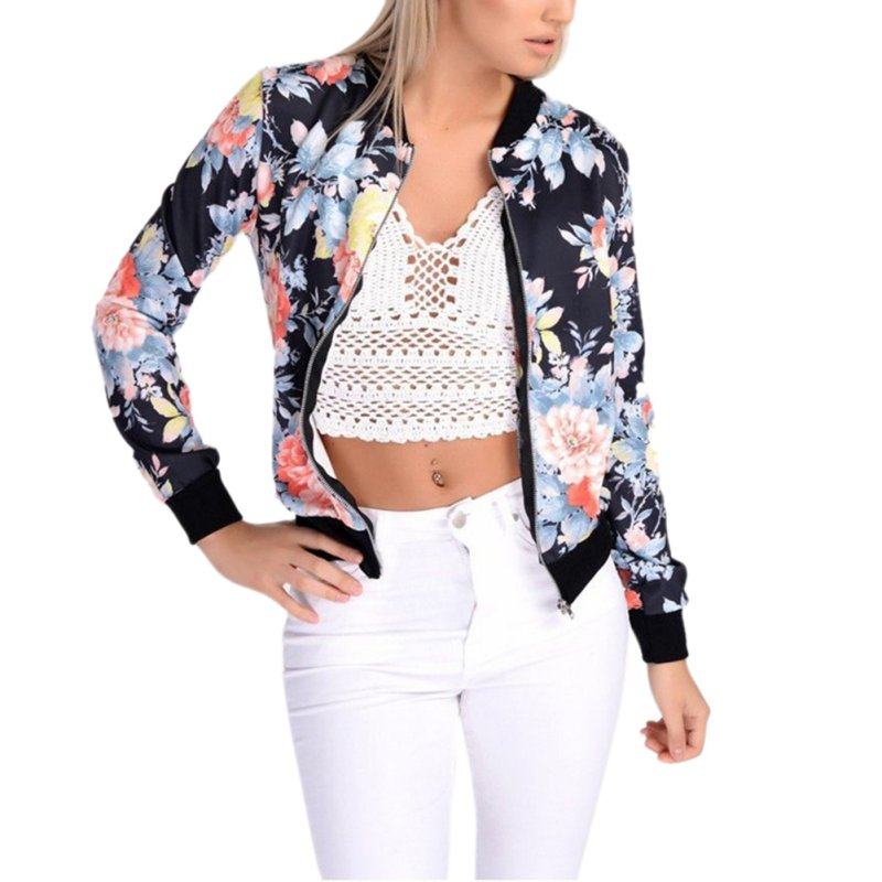 6 Styles 2017 Women Autumn Jackets Short Tops Long Sleeve Floral Print Coat Vintage Women Clothing Bomber Jacket Chaquetas Mujer