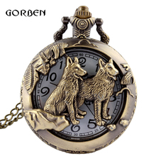 Antique Bronze Dog Pooch wolf Quartz pocket fob watches Necklace Chain vintage pocket watch for Mens Childs relogio de bolso(China (Mainland))