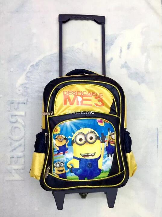 Despicable removable children school bags, Minions students backpack wheels