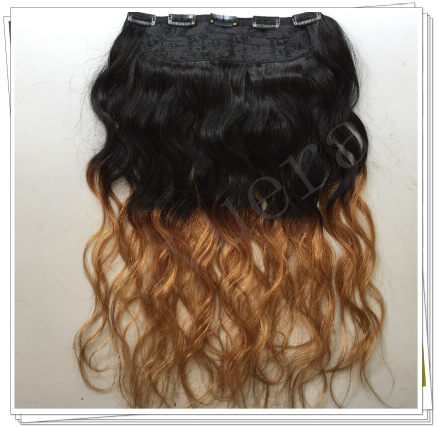 Фотография Body Wave T1B/27 Two Tone Ombre 200g Hair piece One Piece 5 Clips in on 100% Brazilian Virgin Human  Remy Hair Extensions 1PCS
