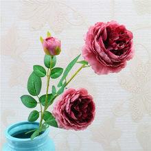 3 رؤساء الحرير الزهور فرع بأوراق التقليد الأوروبي الفاوانيا الفاوانيا الاصطناعي وهمية فلوريس للمنزل فندق الزفاف ديكور A0445(China)