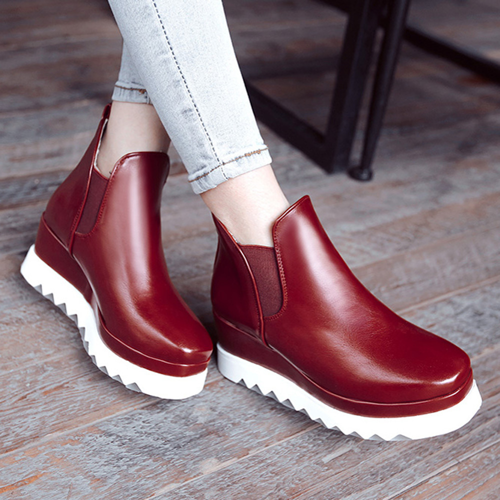 Size 34-39 Elegant Women's Fashion Boots Square Toe Ankle Boots Female Platform Wedge Medium Heel Rivets White Shoes AA8B0(China (Mainland))