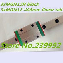 Kossel Mini MGN12 12mm miniature linear rail slide = 3pcs 12mm L-400mm rail+3pcs MGN12H carriage for X Y Z axis(China (Mainland))