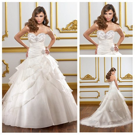 Free Shipping Ball Gown Organza Wedding Dress 2012 Bridal Gown(China (Mainland))